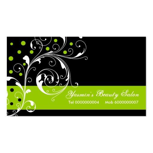 Beauty Salon floral scroll leaf black, lime green Business Card