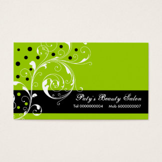 Beauty Salon floral scroll leaf black, lime green Business Card