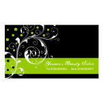 Beauty Salon floral scroll leaf black, lime green Double-Sided Standard Business Cards (Pack Of 100)