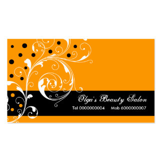 Beauty Salon floral scroll leaf black, orange Business Card