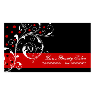 Beauty Salon floral scroll leaf black, red Business Card