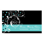 Beauty Salon floral scroll leaf black, turquoise Business Card Template