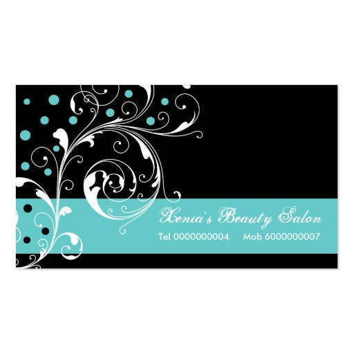 Beauty Salon floral scroll leaf black, turquoise Business Card ...