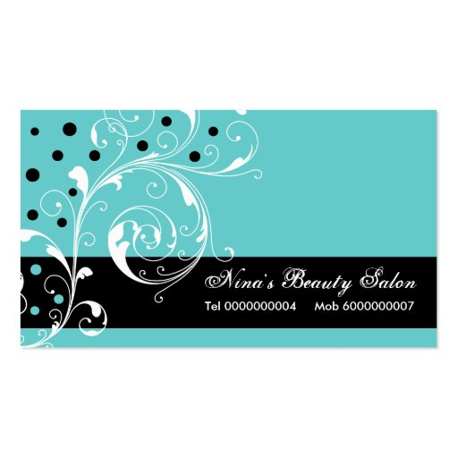 Beauty salon floral scroll leaf black turquoise business for Salon turquoise