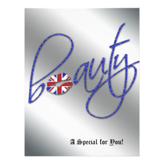 Beauty Salon Flyer Hair Union Jack Flag Blue