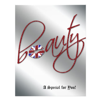Beauty Salon Flyer Hair Union Jack Flag Red