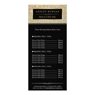 Beauty Salon Funky Gold Glitter Glamour Price List Rack Card