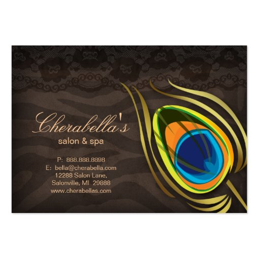 Beauty Salon Gift Card Peacock Feather Brown Suede Business Card
