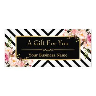 Beauty Salon Gift Certificate Gold Floral Stripes Card