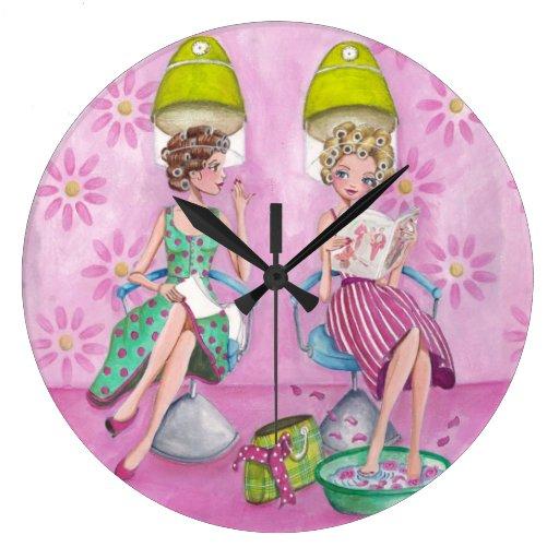 beauty salon girls clock zazzle. Black Bedroom Furniture Sets. Home Design Ideas