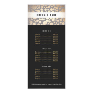 Beauty Salon Gold and Taupe Spotted Pattern Menu