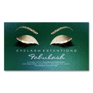 Beauty Salon Gold Glitter Adress Lashes Tropical Business Card Magnet