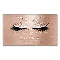 Beauty Salon Gold Glitter Adress Makeup Name Business Card Magnet