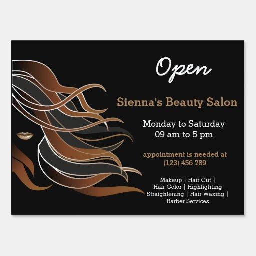 Beauty salon hairdresser brown sign zazzle for A b beauty salon
