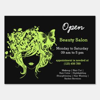 Beauty Salon Hairdresser (dark olive green) Lawn Sign
