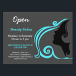"Beauty Salon Hairdresser (turquoise) Sign<br><div class=""desc"">This Beauty Salon  theme,   available in lots different products &amp; colors: business cards,  invitations,  labels,  stickers,  tshirts,  etc. Check more at www.zazzle.com/celebrationideas or www.zazzle.com/graphicdesign</div>"
