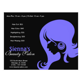 """Beauty Salon (Light Slate Blue) 8.5"""" X 11"""" Flyer"""