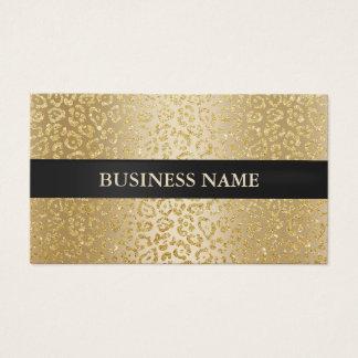 Beauty Salon Luxury Gold Leopard Black Striped Business Card