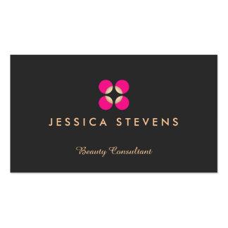 Beauty Salon, Makeup Artist Logo Pink Logo Black Business Card Templates