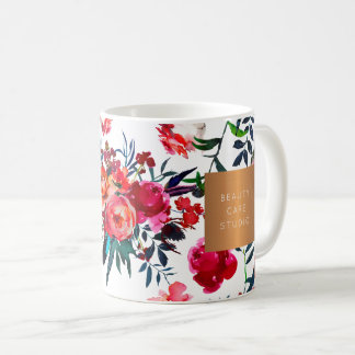 Beauty salon name glam copper watercolor flowers coffee mug