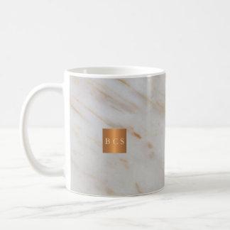 Beauty salon name gold copper marble monogram coffee mug