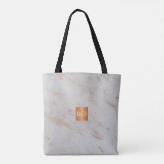Beauty salon name gold copper marble monogram tote bag
