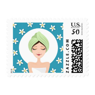 Beauty salon or spa woman with wrapped towel teal postage