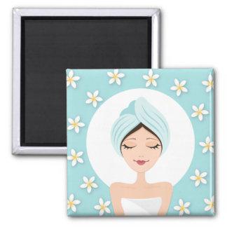 Beauty salon or spa woman wrapped towel aqua blue 2 inch square magnet