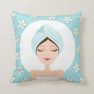 Beauty salon or spa woman wrapped towel aqua blue throw pillow