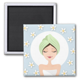 Beauty salon or spa woman wrapped towel pale blue magnets