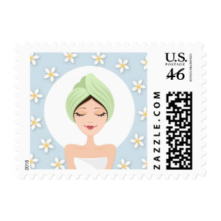 Beauty salon or spa woman wrapped towel sky blue stamps