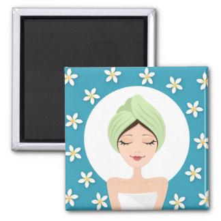 Beauty salon or spa woman wrapped towel teal blue fridge magnets