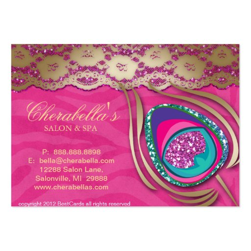 Beauty Salon Peacock Feather Pink Zebra Lace Business Cards