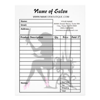 Beauty Salon Pink and Black Girly Girl Order Forms Letterhead