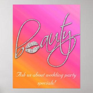 Beauty Salon Poster Pretty Pink Makeup Lips