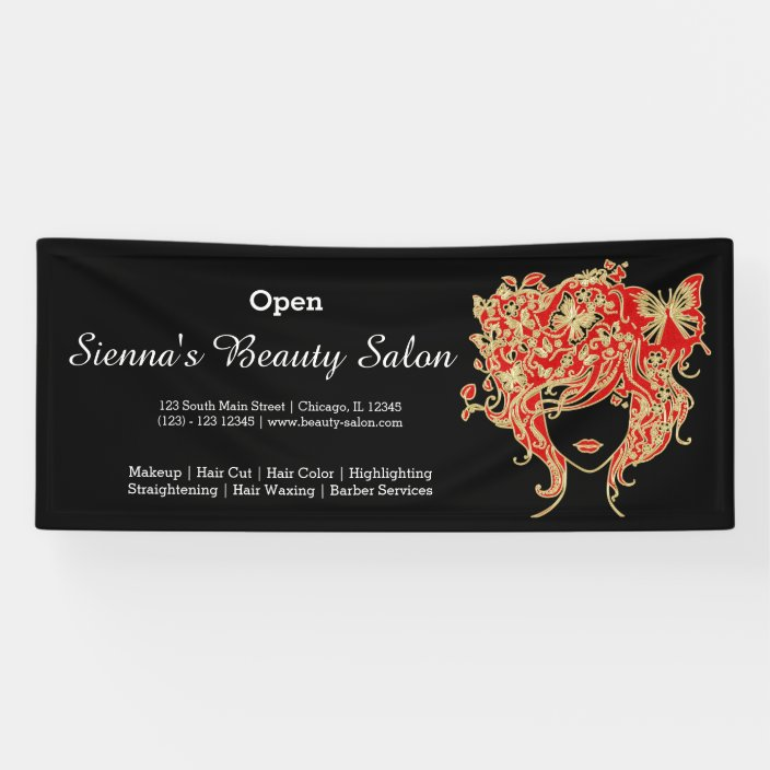 Beauty Salon Red Gold Choose Background Color Banner Zazzle Com