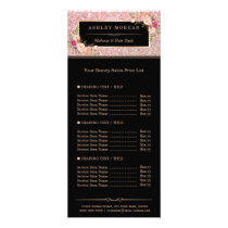 Beauty Salon Rose Gold Glitter Flowers Price List Rack Card