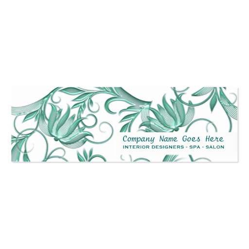 Beauty salon spa floral swirl mini business card