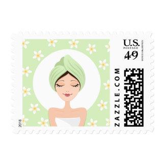 Beauty salon/spa postage stamp with frangipani