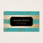 Beauty Salon Trendy Gold Stripes Turquoise Marble Business Card
