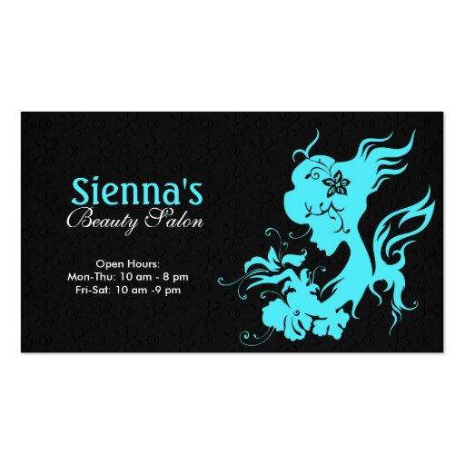 Beauty salon turquoise double sided standard business for Salon business cards templates free