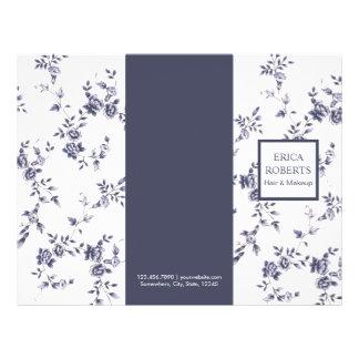 Beauty Salon Vintage Blue Floral Trifold Flyer