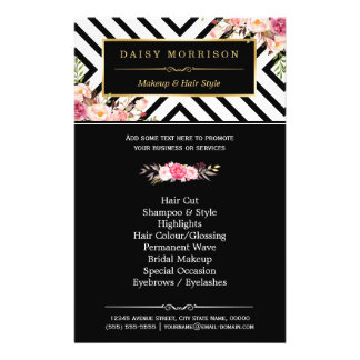 Beauty Salon Vintage Floral Black White Stripes Flyer