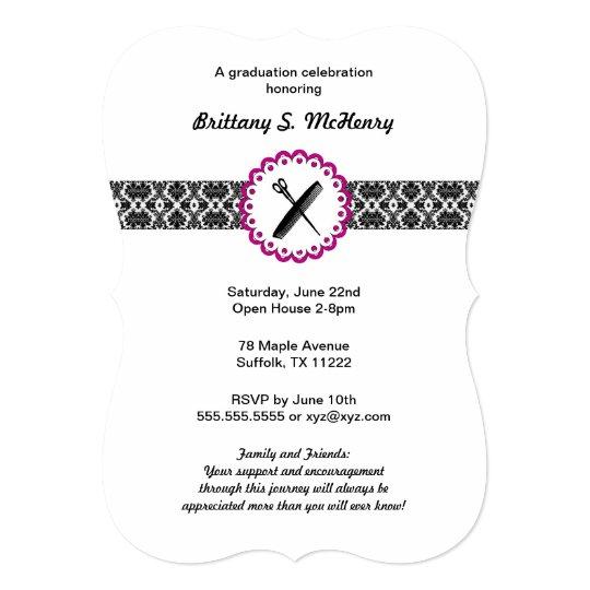 Beauty school damask graduation invitation pink zazzle beauty school damask graduation invitation pink stopboris Image collections