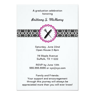 Beauty School Damask Graduation Invitation pink