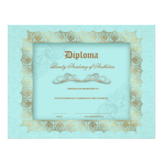 Beauty School Diploma Blue Gold Lace Frame Flyer