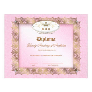Beauty School Diploma Pink Gold Lace Crown Custom Flyer