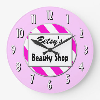Beauty Shop Pink White Custom Retro Clock