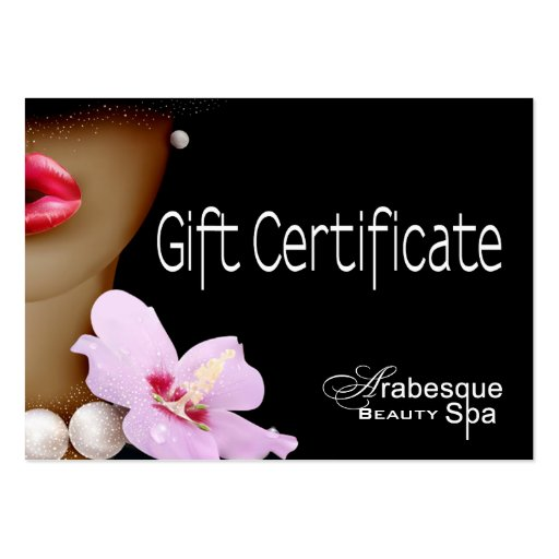 Beauty Spa Arabesque Gift Certificate Business Card