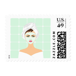 Beauty Spa Treatment Green Face Mask Woman Stamp